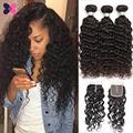 8A Peruvian Water Wave Virgin Hair Bundles With Lace Closures Ali Grace Hair Curly Weave Human Hair 3 Bundle Deals With Closure