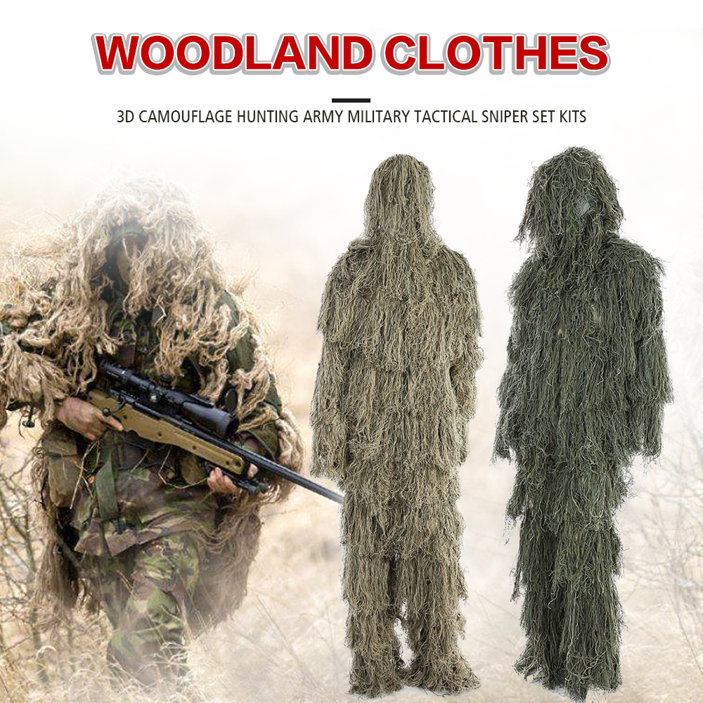 3D Universal Camouflage Suits Woodland Clothes Adjustable Size Ghillie Suit For Hunting Army Military Tactical Sniper Set Kits
