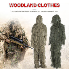3D Universal Camouflage Suits Woodland Clothes Adjustable Size Ghillie Suit For Hunting Army Military Tactical Sniper Set Kits(China)