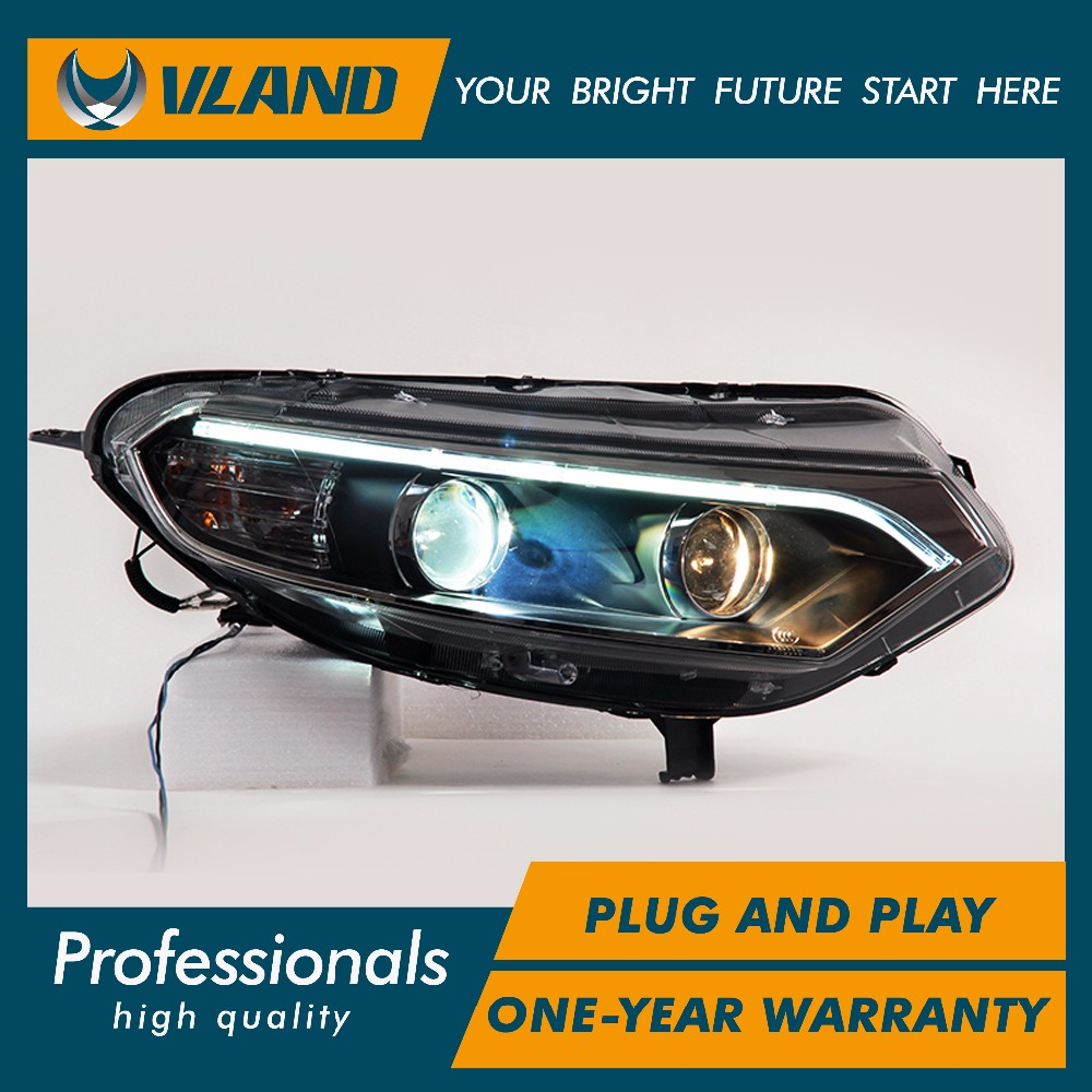 Free shipping for china vland head lamp for ford ecosport led bar headlight 2014 2017 drl