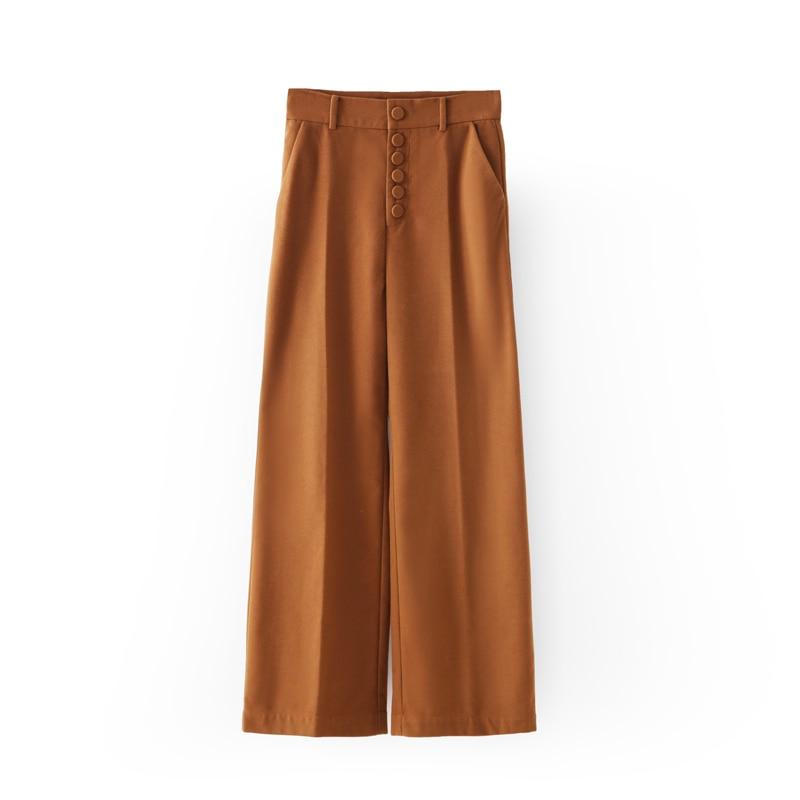 Pants 2019 Boutons Automne Hiver Pant Leg Solide Cargo Pantalon Taille Bureau Minimaliste khaki Femmes Wide Amii Grey Haute Élégant Droite w1qTYq4