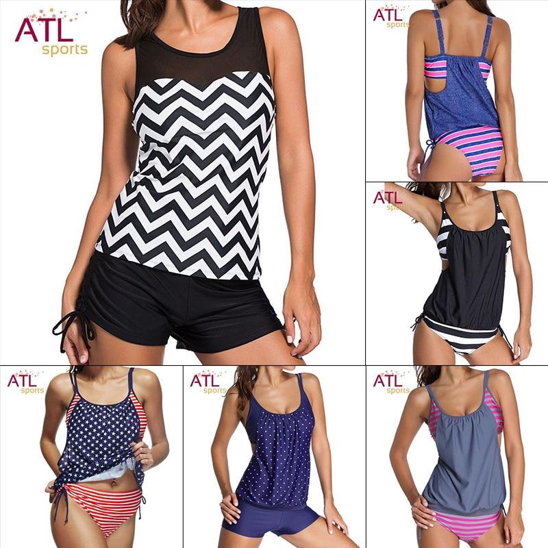 Bathers Large Size Swimwear Female Striped Swimsuit Solid Tankini Mayo Beach 2017 Swimming Suit For Women Bathing Suit Biquine