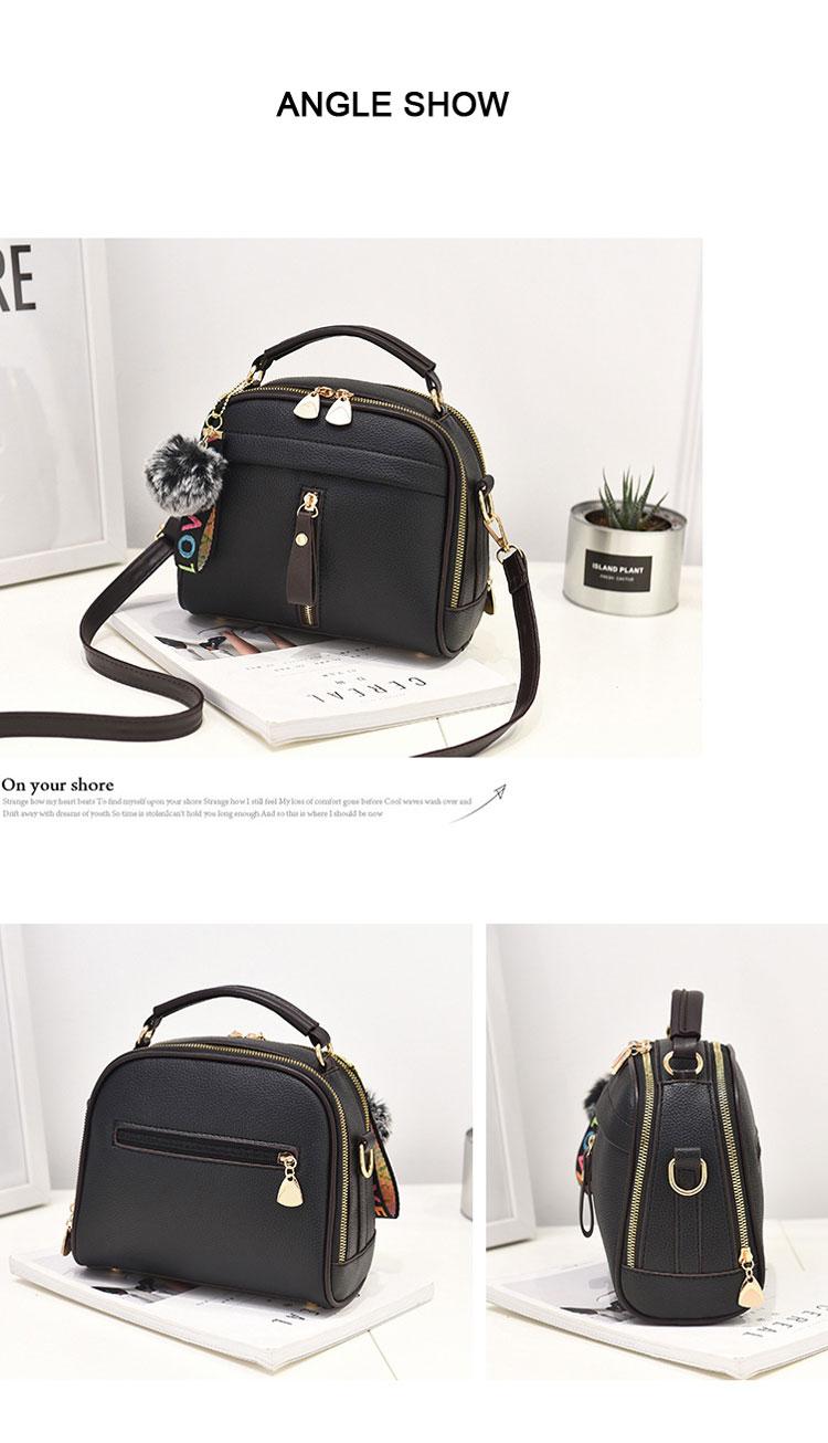 Fashion Women Handbag PU Leather Women Messenger Bags With Ball Toy Female Shoulder Bags Ladies Party Handbags 2019 9