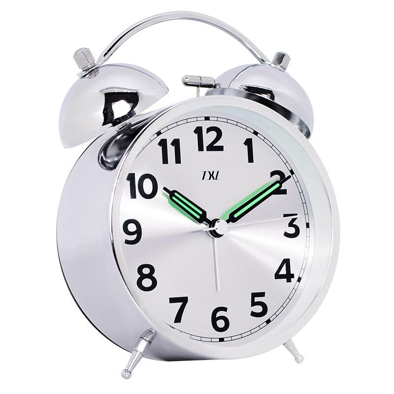 Argent miroir horloge, En Métal lumineux pointeur, Double cloches fort, pour gros dormeur, Silencieux horloge mouvement, étudiant temps outil