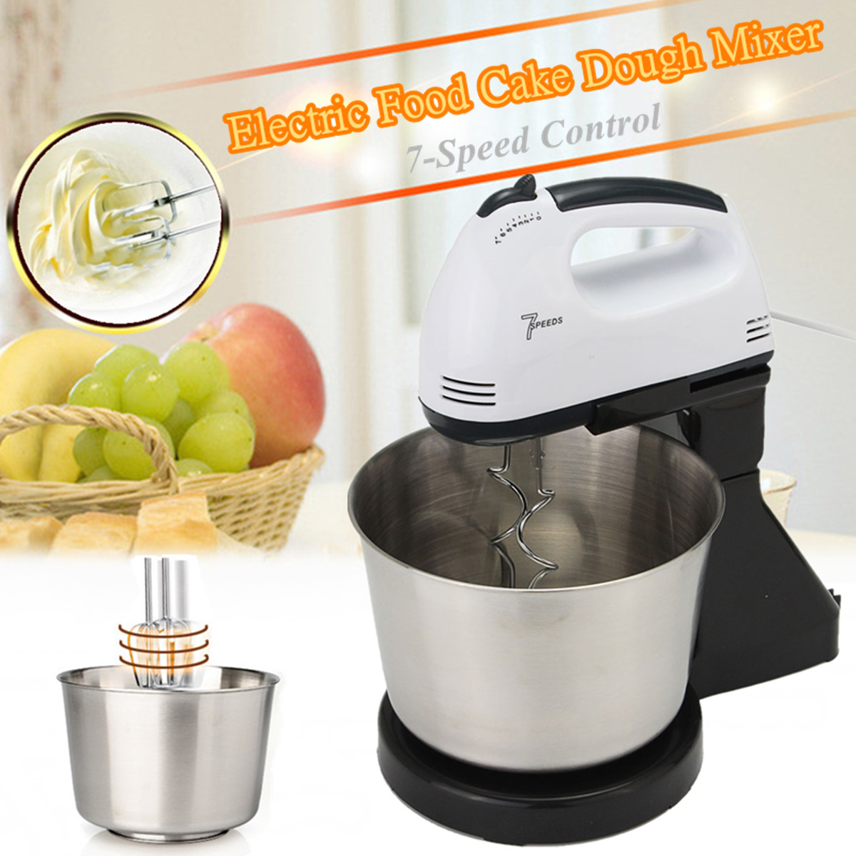 7 Speed Automatic Whisk Household Hand Food Mixer Electric Stand Mixers Handheld Flour Bread Egg Beater Blenders with Bowl bear mixer blenders electric egg whisk both handheld and table type dough mixer and noodle machine egg beater