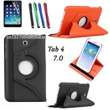 Caliente! alta calidad rotación del caso del soporte para Samsung Galaxy Tab 4 7.0 T230 T231 T235 moda de lujo de la tableta de la pu cover + pluma + film