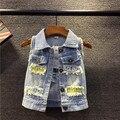 Criança outerwear, Primavera e outono bebê colete crianças colete crianças meninos e meninas denim colete