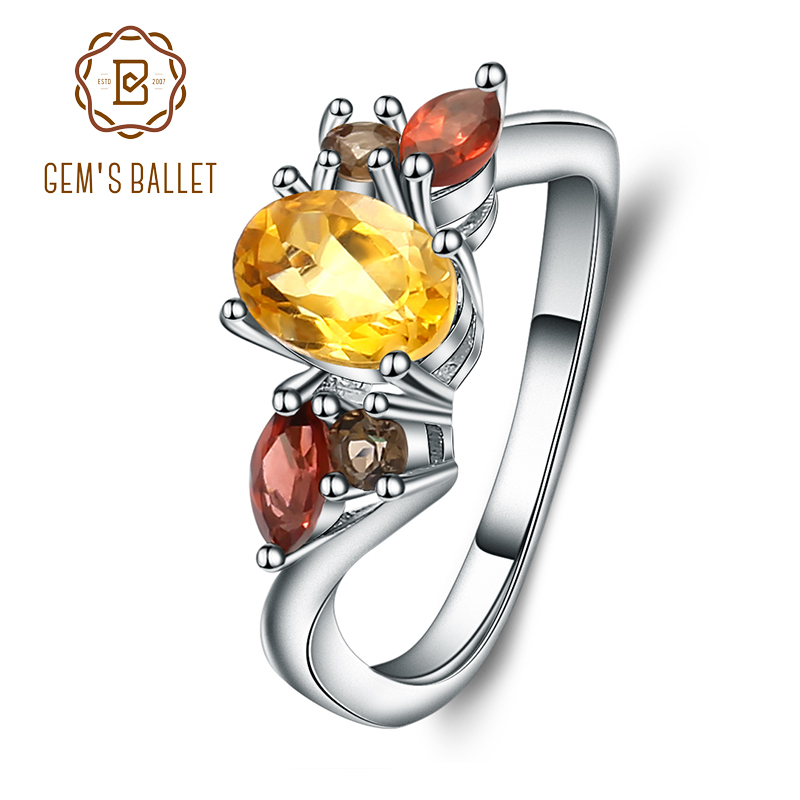 Gem's Ballet Natural Citrine Garnet Rings Genuine 925 Sterling Silver For Women Wedding Engagement Jewelry For Women