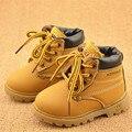 Estilo britânico Crianças Botas de Neve de Inverno Crianças Sapatos de Couro Não-escorregar Meninos Meninas Martin Botas Lace-Up de Pelúcia engrossar Sapatos Quentes