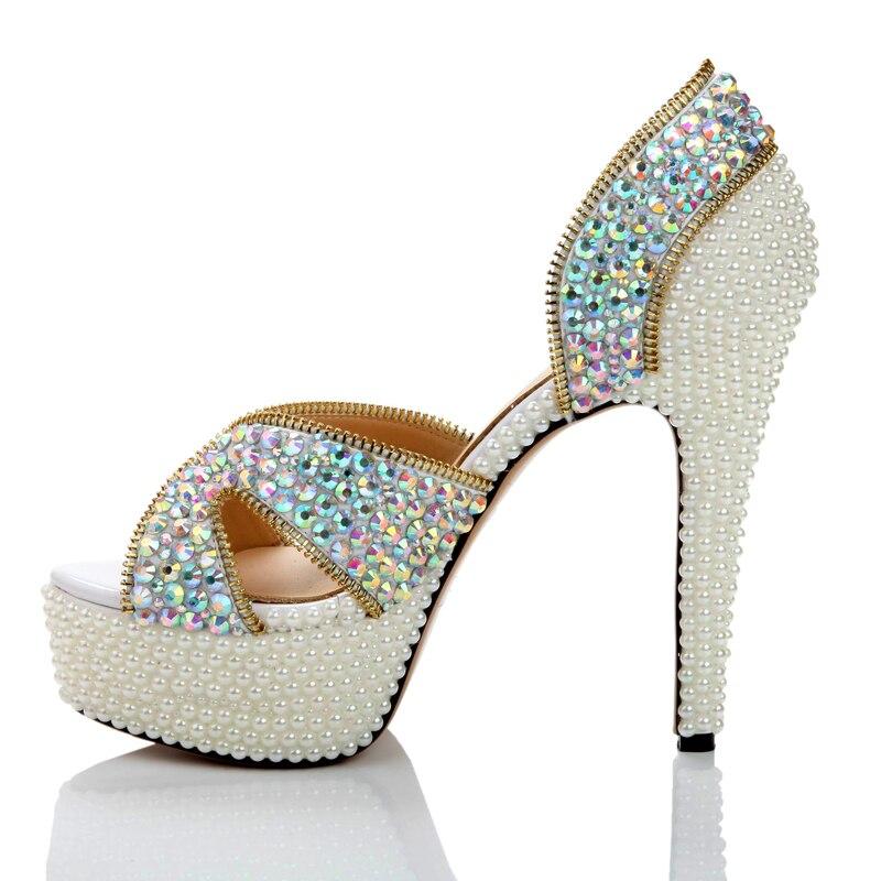 Bout Cristal Avec Crystal Taille À Ouvert De 14cm D'été Mariage Anniversaire ab Luxe Heels Custom 9 Sexy Perle Cérémonie Mode Ab Sandales Pink Made Pompes Chaussures tEEHq4z