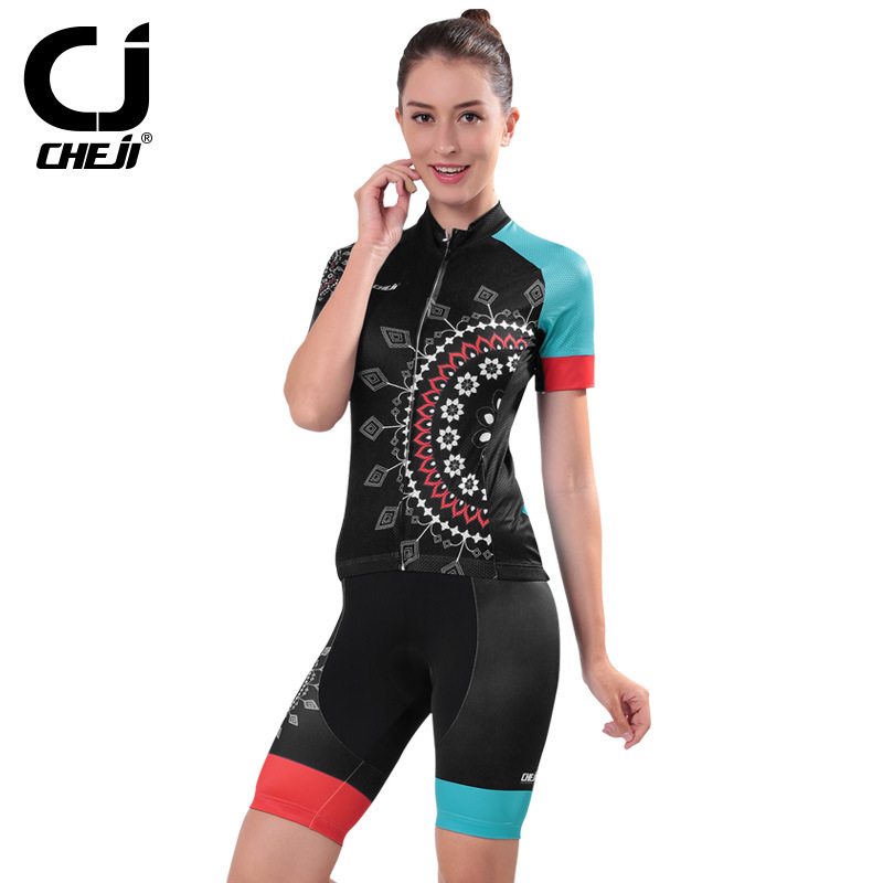ФОТО CHEJI Women Summer Cycling Suit Quick-dry Breathable Short Sleeve Jersey Padded Short Wear Uniforms Racing Riding Ciclismo Set