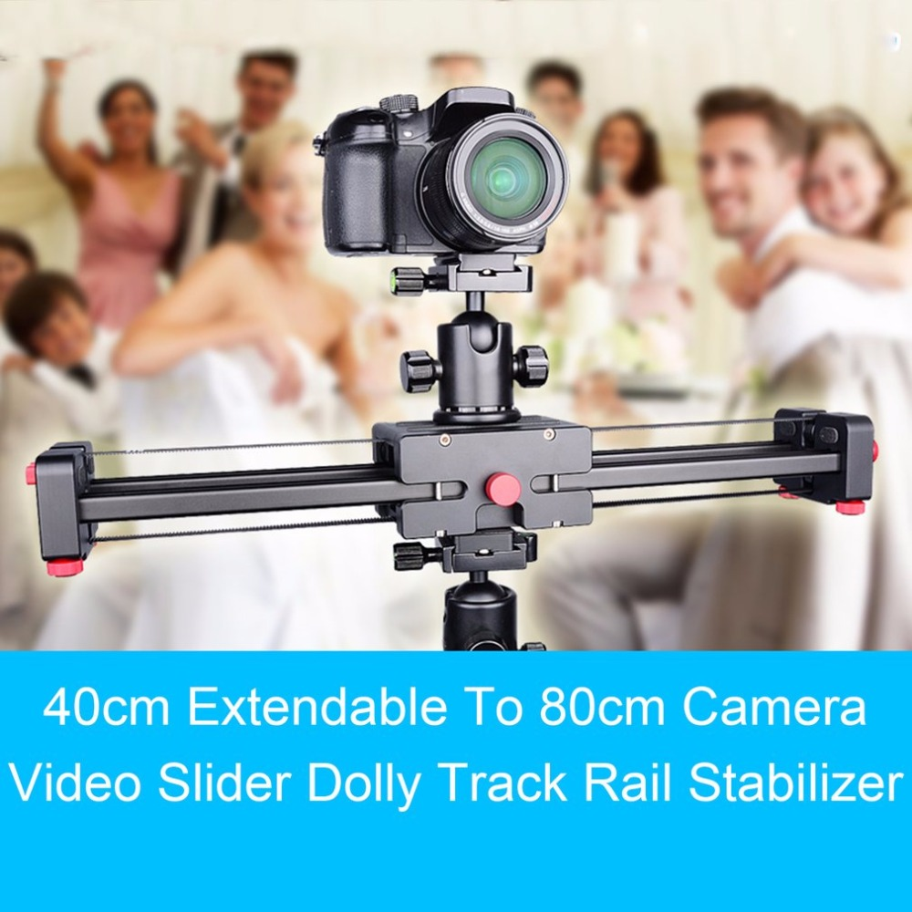 New 16/ 40cm Extendable to 32/ 80cm Retractable Camera Video Slider Dolly Track Rail Stabilizer Load Up To 8kg For Cameras fotomate lp 02 200mm movable 2 way macro focusing rail slider black