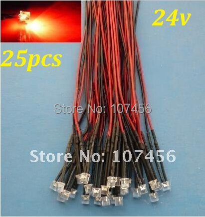 Free Shipping 25pcs Flat Top Red LED Lamp Light Set Pre-Wired 5mm 24V DC Wired 5mm 24v Big/wide Angle Red Led