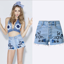 Summer Bohemia Shorts High Waisted Jeans Shorts Embroidery 3D Stereoscopic Flower Unedged Vintage Slim Women Denim