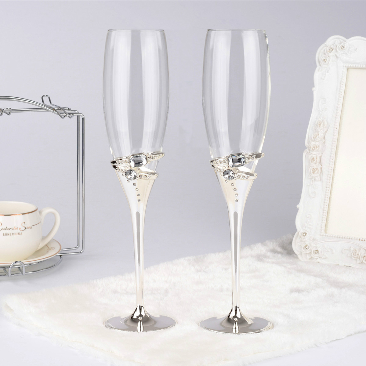 1 pair silver color wedding champagne red wine glasses with crystal 2 rings champagne glass