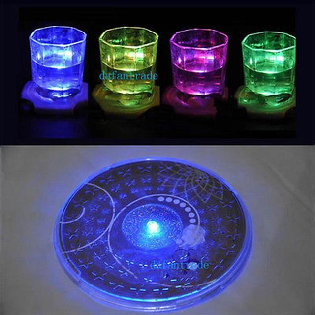 New sale colorful changing led light bottle cup mat coaster for new sale colorful changing led light bottle cup mat coaster for clubs bar party aloadofball Image collections