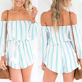 YEMUSEED 2017l Sexy off shoulder ruffles summer jumpsuit romper Girls elegant striped one piece overalls High waist women