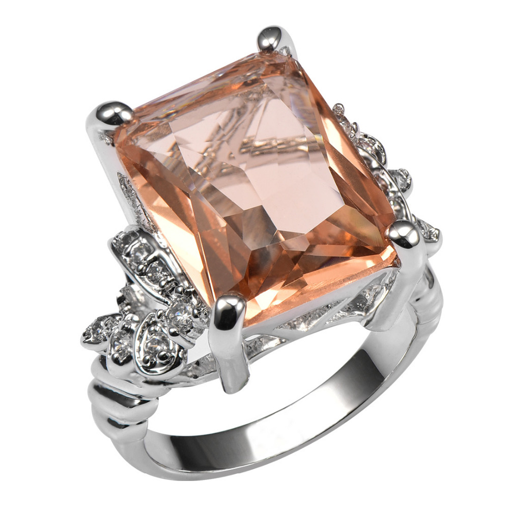 huge morganite with multi white crystal zircon 925 sterling silver ring for women and men size