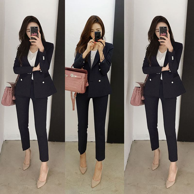 Spring and Autumn Womens Suit Formal Womens Stripe Suit Trousers West Slim Office Lady Trousers Workwear Set ...