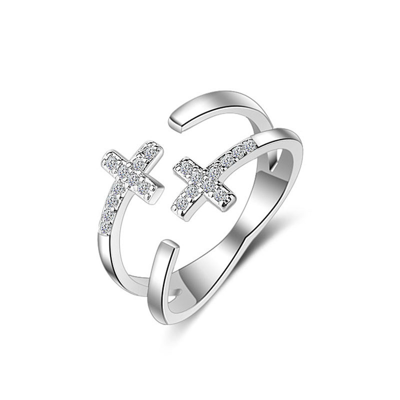 Crystal From Swarovski Rose Gold Opening Rings Double-Deck Crucifix Silver Plated Wedding Ring Bijoux Gift For Women jewelry