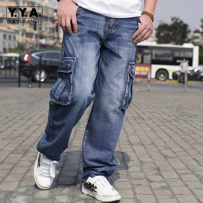 2017 Cool Mens Fashion Loose Retro Denim Jeans Pockets Pants Trousers Street Boys Hip Hop Casual Baggy Pants Size 30-46