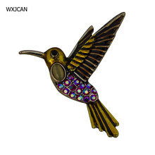 WXJCAN enamel bird brooch Alloy inlay resin rhinestone brooch pins Size 41mm*37mm B5692(China)