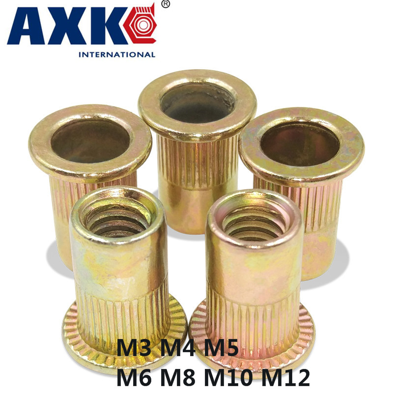 Axk Metric Thread M3 M4 M5 M6 M8 M10 M12 Carbon Steel Flat Head Blind Insert Rivet Nut Flat Head Rivet Nut Brand New
