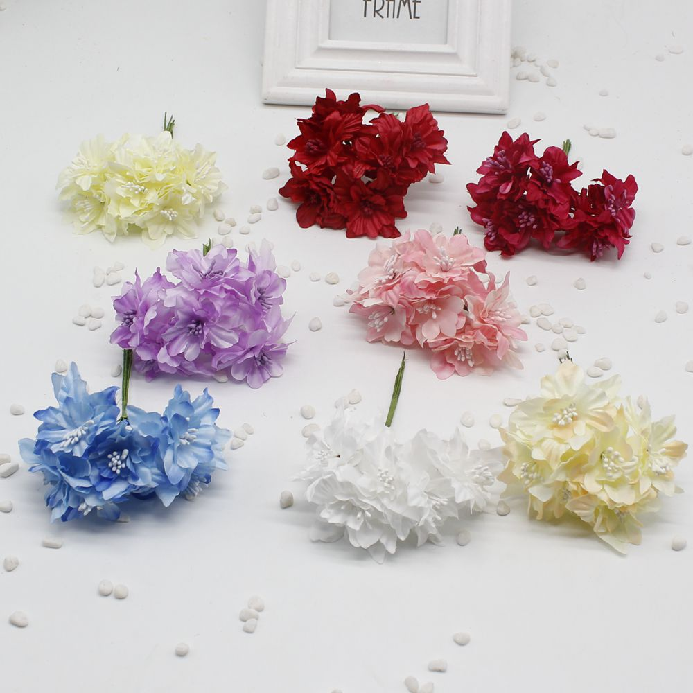30 pcs 4 cm New Artificial Cherry Blossom Mini Cloth Flowers Bouquet With Pearl For Wedding Hair Garland Scrapbooking Decoration