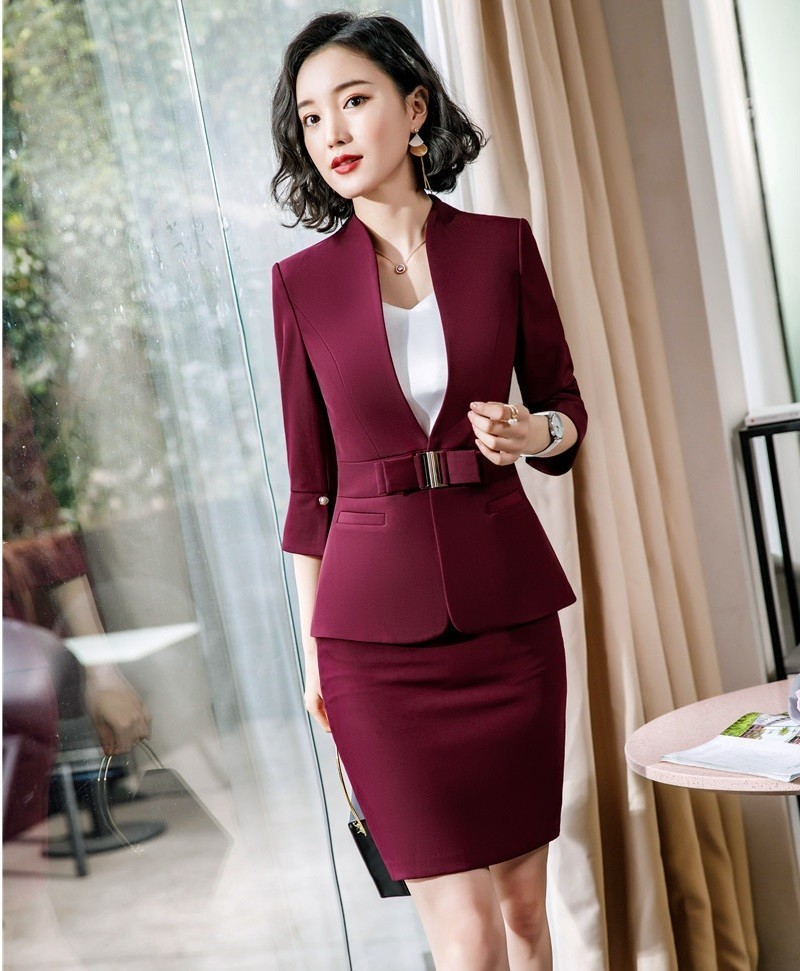 Novelty Wine 2019 Spring Summer Half Sleeve Blazers Suits With Jackets And Skirt OL Styles Women Business Suits Ladies Blazers