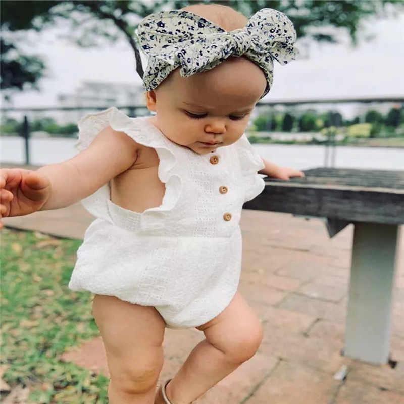 2019 детская одежда для девочки, одежда с оборками, хлопковый комбинезон с летящими рукавами, повседневный однотонный костюм roupa infantil