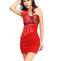 새로운 섹시한 여성 bodycon 쉬폰 파티 볼 칵테일 클럽 짧은 미니 dress 한 어깨 화이트 bodycon 레드 dress 파티 vestidos