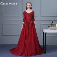 CEEWHY Burgundy Robe De Soiree Sexy V Neck Lace Beading Evening Dresses Long Bride Banquet Luxury