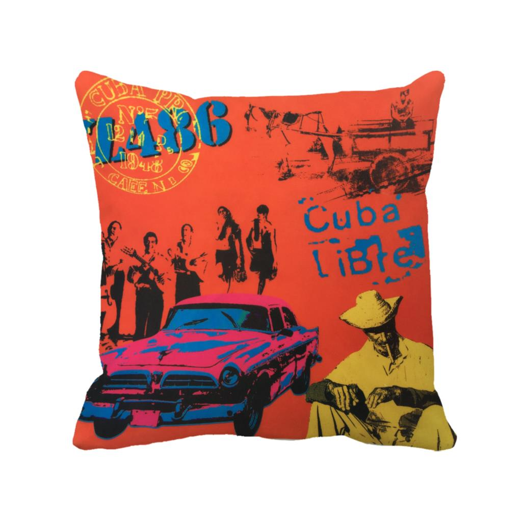 Custom Throw Pillow Cases : letter cuba libre with pink car printed custom decorative cushion cover Euro orange throw pillow ...