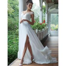 Boho Beach Wedding Dress Chiffon A Line Side Slit Cap Sleeves Sheer Scoop Lace Appliques Bridal Gowns Suknia Slubna