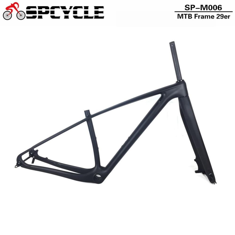 Spcycle T1000 27.5er 29er Montanha De Carbono Bicicleta Conjunto de Quadros de Carbono MTB Quadro Da Bicicleta E Garfo PF30 fone de Ouvido Thru Eixo Braçadeira Como presente