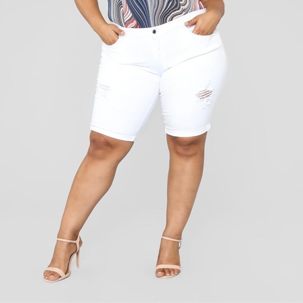 Large Size Woman's Short Jeans Loose Denim Middle Waist Women's Shorts Stretch Casual Women Shorts Woman High Waist Jeans