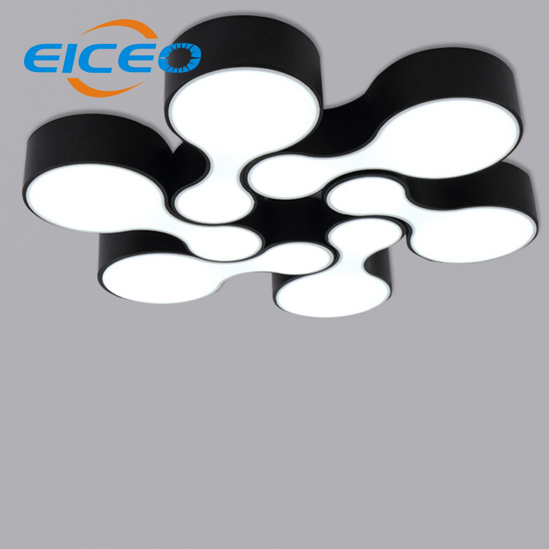 (EICEO) 2017 Modern LED Ceiling Lamp Living Room Restaurant Study Bedroom Lamps Black+White AC185-265V Free Shipping lights black or white rectangle living room bedroom modern led ceiling lights white color square rings study room ceiling lamp fixtures