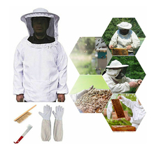 Beekeeping Suit Bee Honey Keeping Equipment Gloves Hive Brush Hook Veil Set New