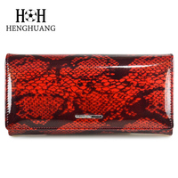 HH 2017 New Fashion Women Wallets Serpentine Leather Zipper Wallet Women S Long Design Purse Two