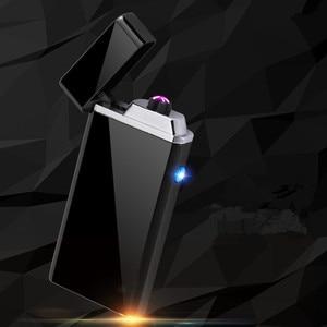 Image 4 - Aanpassen USB Elektrische Dubbele Arc Lichter Oplaadbare Winddicht Aansteker Sigaret Dual Thunder Pulse Cross Lichter Plasma