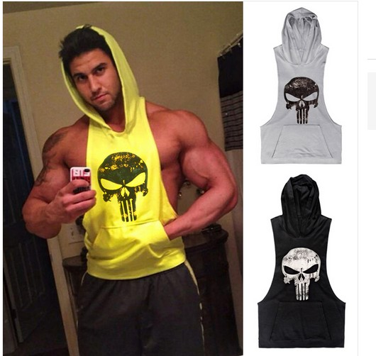 87e9fb0ccbc4e1 2016 Punisher Skull Hoodies Bodybuilding Stringer Exercise Vest Hooded  Fitness Loose Clothing Tank Tops Men Clothing Mucle-in Tank Tops from Men s  Clothing ...