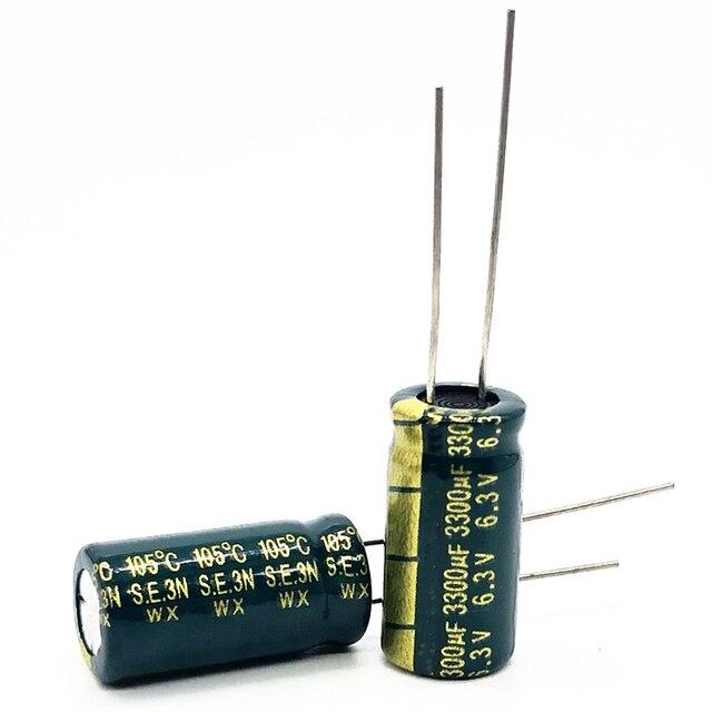 10 шт./лот 6,3 В 3300 мкФ 10*20 высокочастотный низкоимпедансный алюминиевый электролитический конденсатор 3300 мкФ 6,3 В 20%