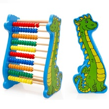 Dinosaur Wooden Beads 10-rows Abacus Counting Educational Colorful Beads Maths Toy for Kids Children цены