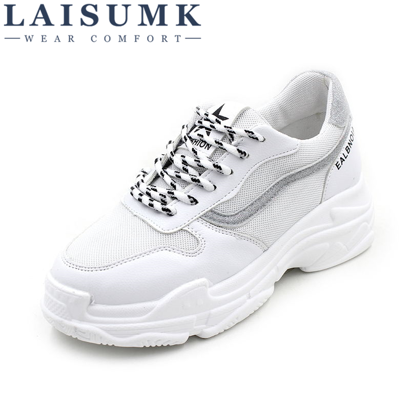 2018 LAISUMK New Spring Fashion Lady Casual White Shoes Women Sneakers Leisure Platform Shoes Breathable Casual Shoe Cross-tied