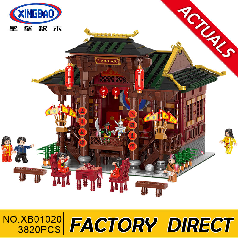 Xingbao 01020 Classic Traditional Chinese Peking Opera Stage Compatible with lepin City Building Blocks Bricks 3820 Pieces 8 pieces set china postage used stamps 1980 t 45 peking opera facebook