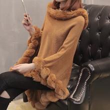 Осень и зима новая рубашка летучая мышь Свободный плащ свитер с длинным секционным меховым воротником шаль пальто свитер женский