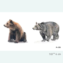 Bear Waterproof Temporary Tattoo Stickers For Adults Kids Body Art Fake Tatoo For Women Men Tattoos A-106