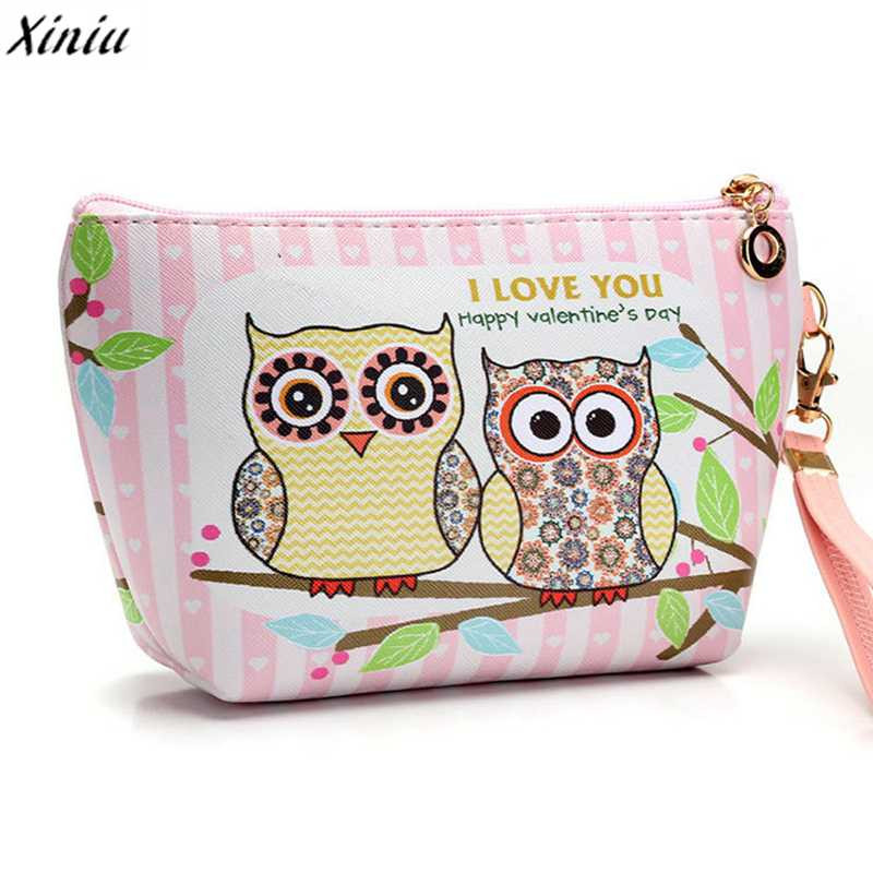 2018 Women Portable Owl Cosmetic Case Pouch Zip Toiletry Organizer Travel Makeup Make Up Wash Organizer Storage Pouch bags