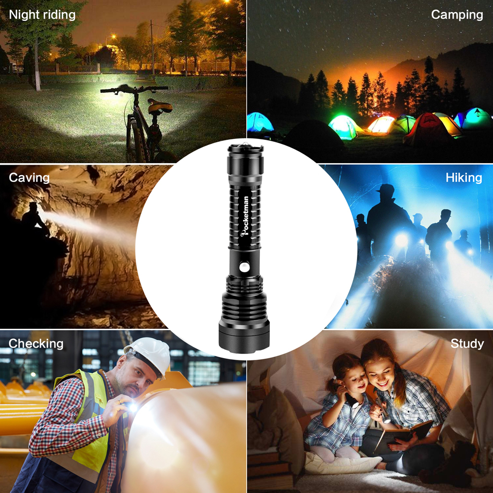 Купить с кэшбэком Pocketman 3000Lumens Super Bright LED Tactical Flashlight Rechargeable Waterproof Linternas Torch Aluminum Alloy by 1*18650