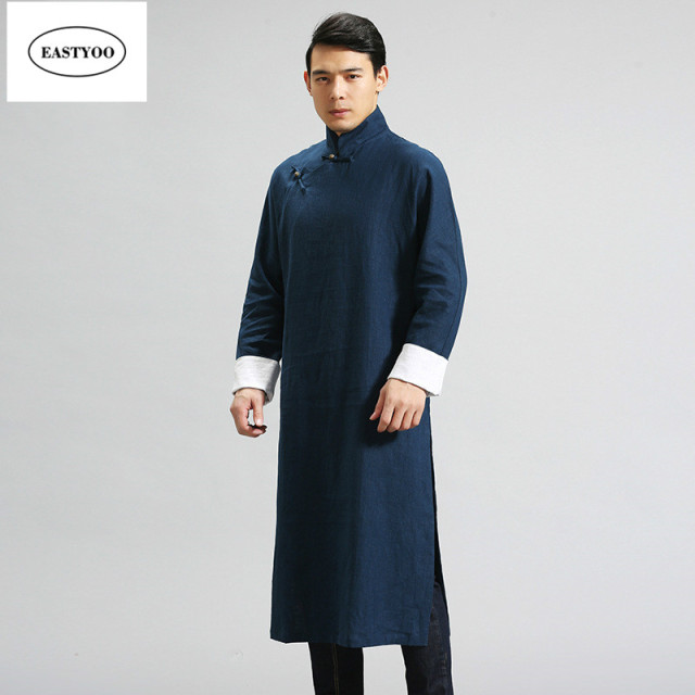 Chinese Traditional Dress Men Mandarin Collar Long Robes